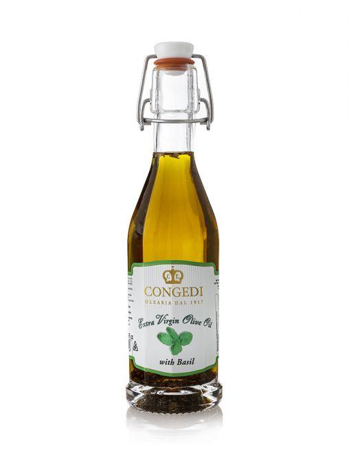 Olio extra vergine di oliva aromatizzato al basilico 0,25 l