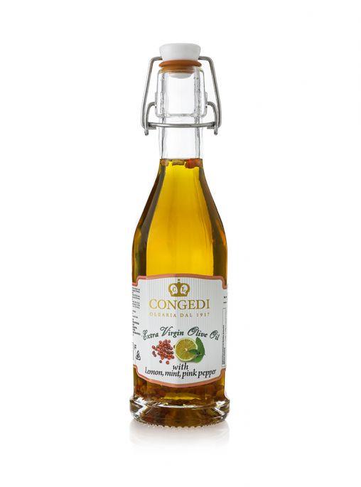 Olio Extra Vergine di oliva aromatizzato al Limone, Menta e Pepe Rosa 0.25 l