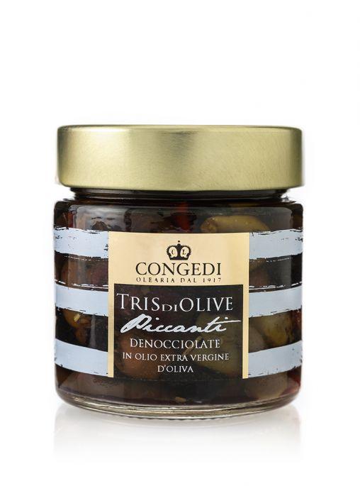 Tris di Olive Piccanti Denocciolate in Olio Extra Vergine