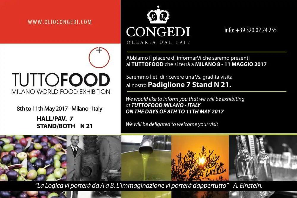 Olio Congedi sarà presente a Tutto Food Milano – 8/11 Maggio 2017